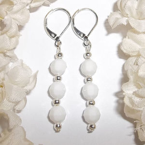 Cute Long White Earring Set Dangle Drop NWT 4739